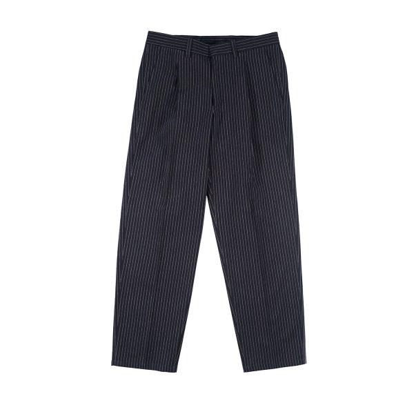 Sasà Pantaloni in Lana Gessato effetto stropicciato Una pence con zip