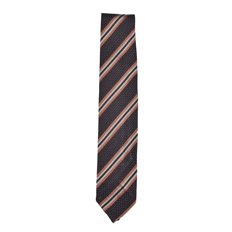 cravatta-sfoderata-seta-marrone scuro- arancio-beige