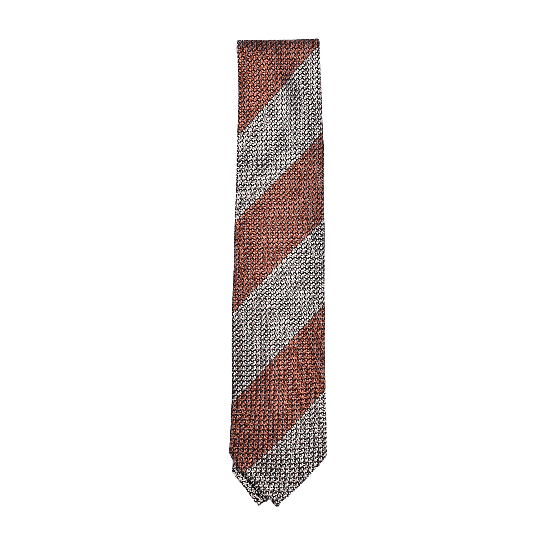 cravatta-seta-arancio-beige-nero